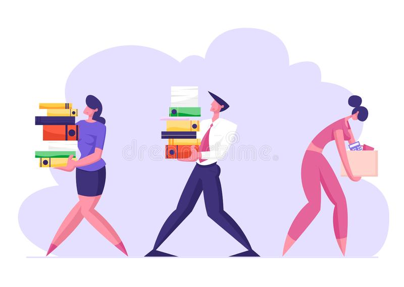 Business Man and Woman Carry Big Heap of Documents Files. Fired Sad Businesswoman with Box Leaving Office vector illustration