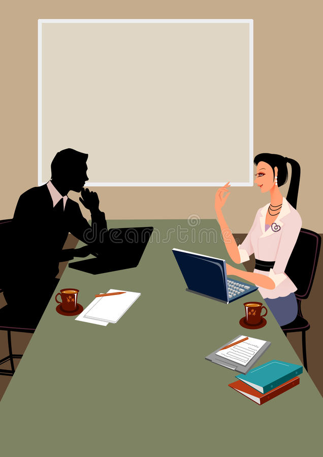 Business man and woman communication in office vector illustration