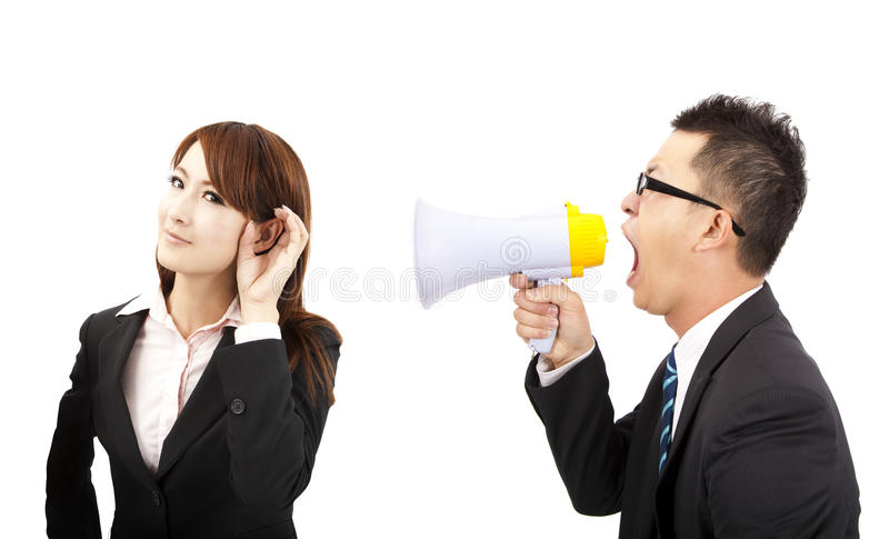 Business man and woman Communications problems. Speaker and listen concept. business man and woman Communications problems royalty free stock image