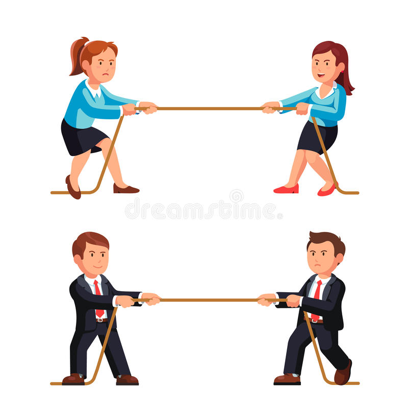 Business man and woman competition metaphor vector illustration