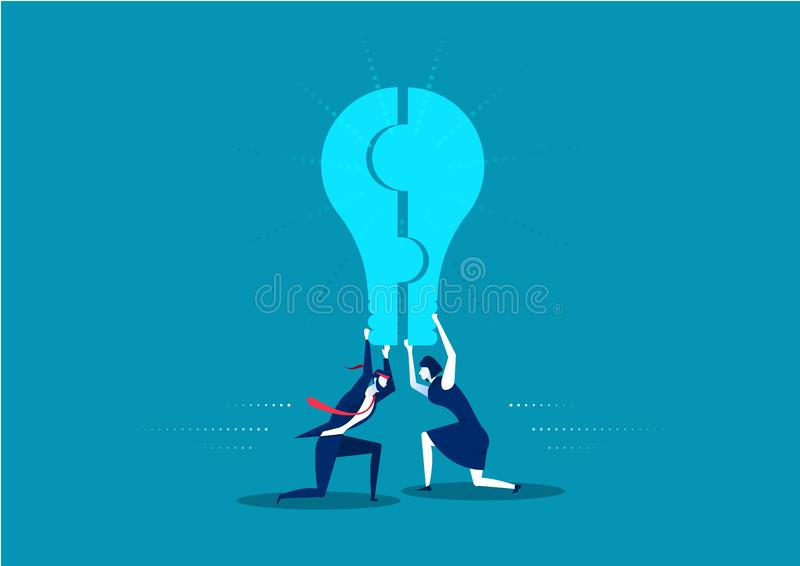 Business man and woman holding a puzzle,Form a light bulb. Isolated on blue background vector illustration