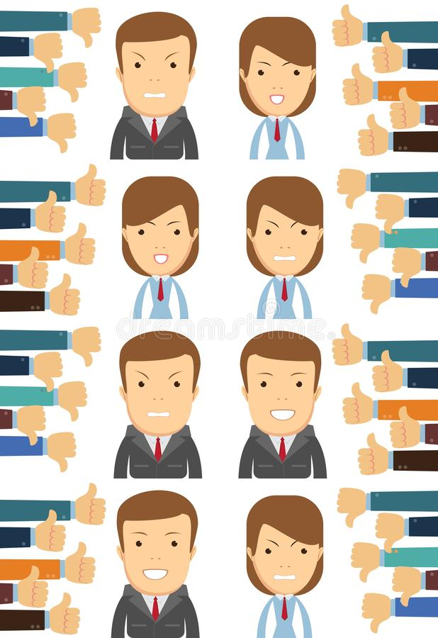 Business man and woman, many hands with thumbs. Dislikes and likes concept. Creative vector illustration stock illustration