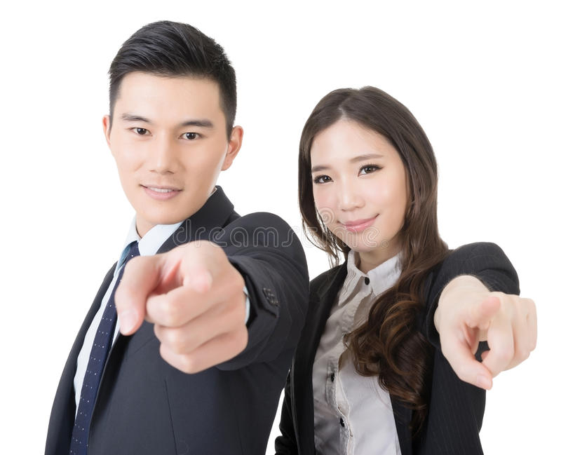 Business man and woman point at you. Business men and women point at you, closeup portrait isolated on white background stock image