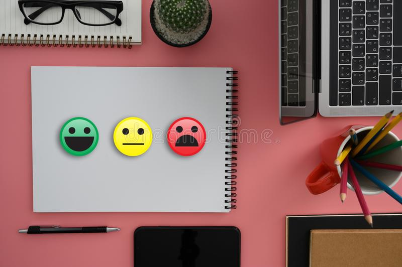 Business man and woman select happy on satisfaction evaluation? And good mood smiley and evaluate. D royalty free stock image