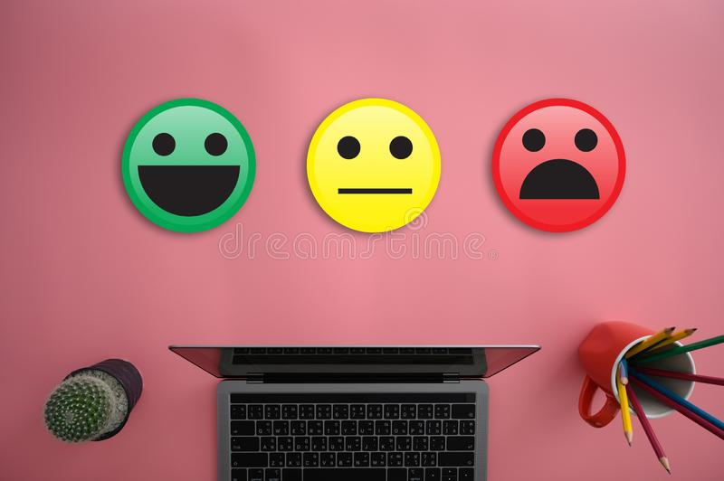 Business man and woman select happy on satisfaction evaluation? And good mood smiley and evaluate. D stock photo