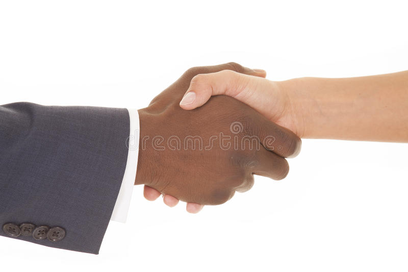 Business man and woman shake just hands stock photos