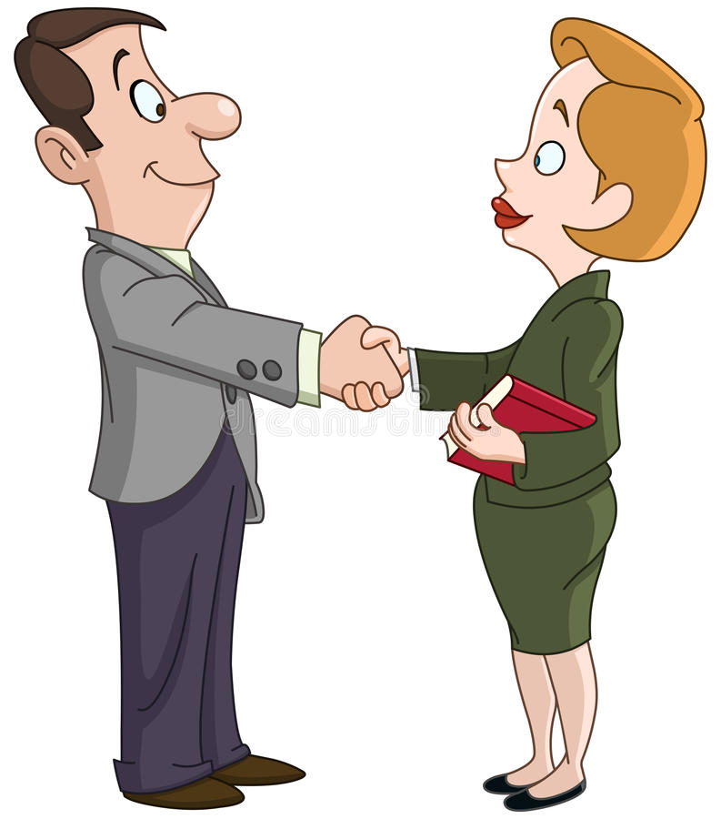 Business man and woman shaking hands. Vector illustration of a business man and woman shaking hands royalty free illustration