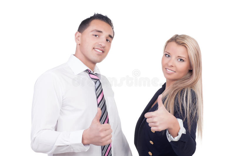 Download Business Man And Woman Showing Thumbs Up Stock Photo - Image of co, gesture: 30642760