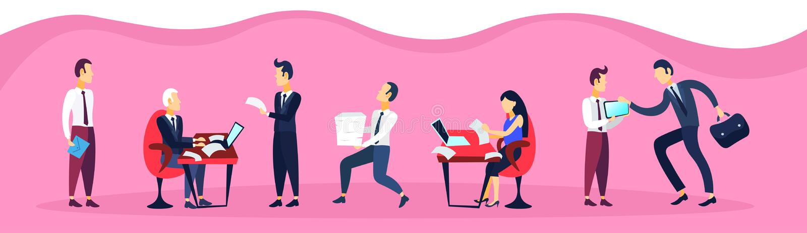 Business man woman sitting office workplace using laptop communication business interview concept cartoon character flat. Horizontal banner vector illustration royalty free illustration