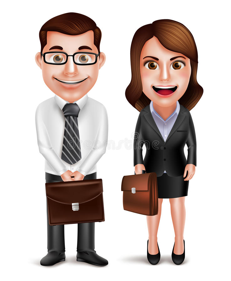 Business man and woman vector characters holding briefcase stock illustration