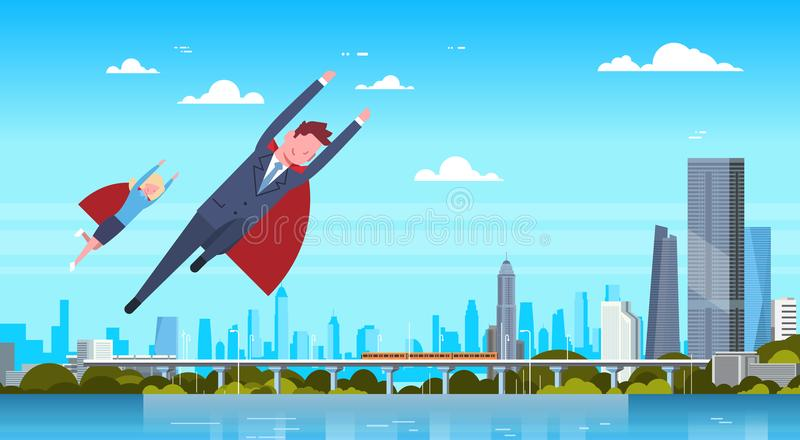 Business Man And Woman Wearing Red Cape Flying Over Modern City Businessman And Businesswoman Hero. Flat Vector Illustration vector illustration