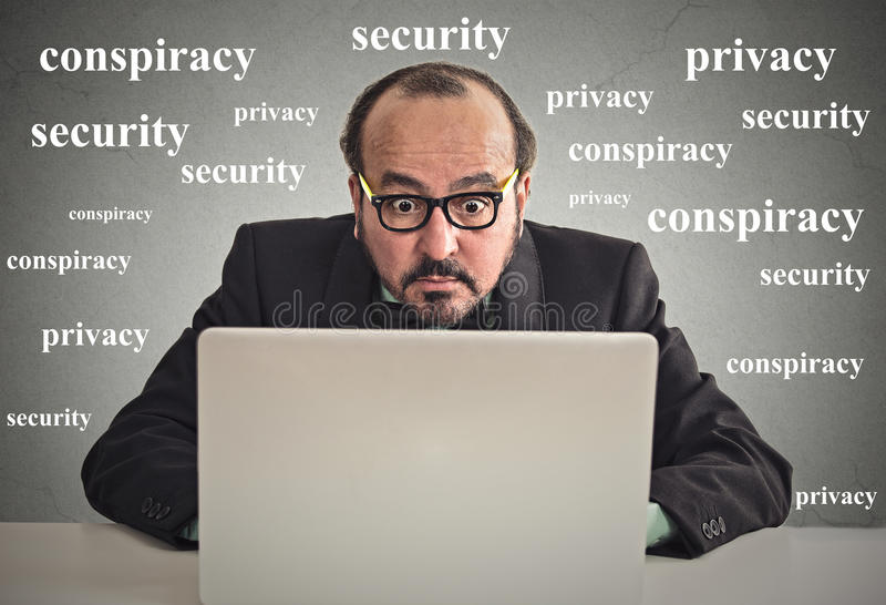 Business man working on computer privacy concept royalty free stock image