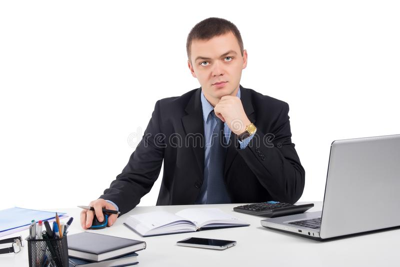 Business man working with documents and laptop royalty free stock image