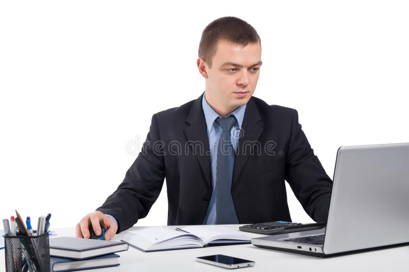 Business man working with documents and laptop royalty free stock photos