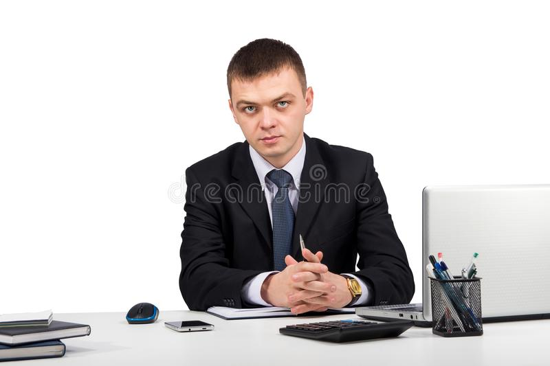 Business man working with documents and laptop isolated on white background stock photos
