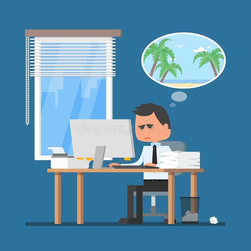Business man working hard and dreaming about vacation on a beach. Vector illustration in flat cartoon style. Office worker in stress dreaming to go to tropical royalty free illustration