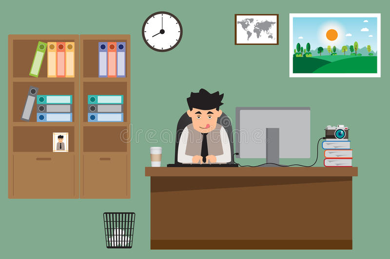 Business man working on his desk that have coffee cup on desk. vector illustration