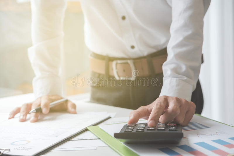 Business man working in his home office. Business concept stock photography