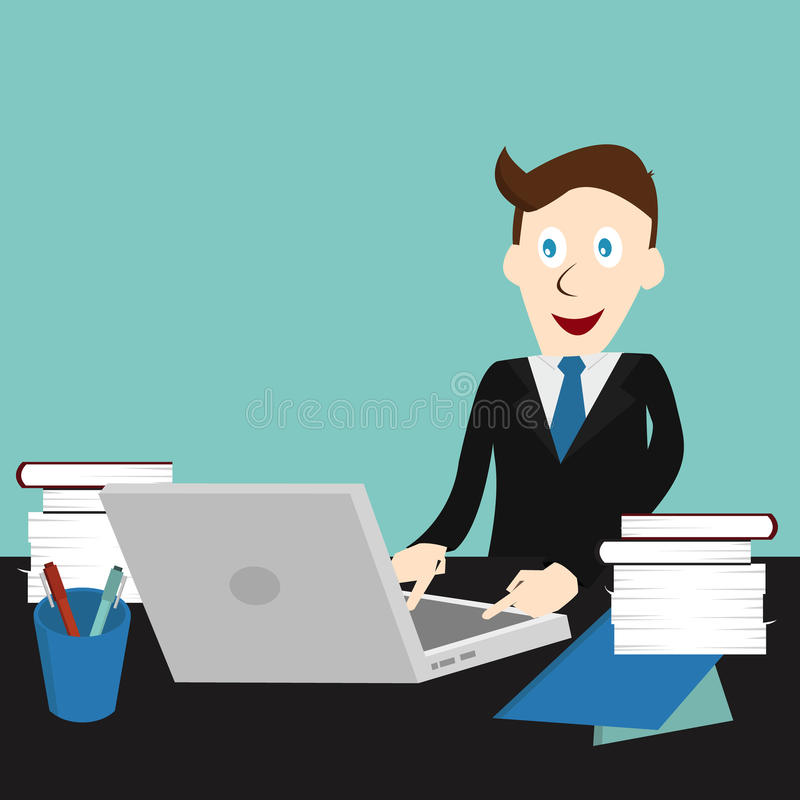 Business man working with his laptop royalty free illustration