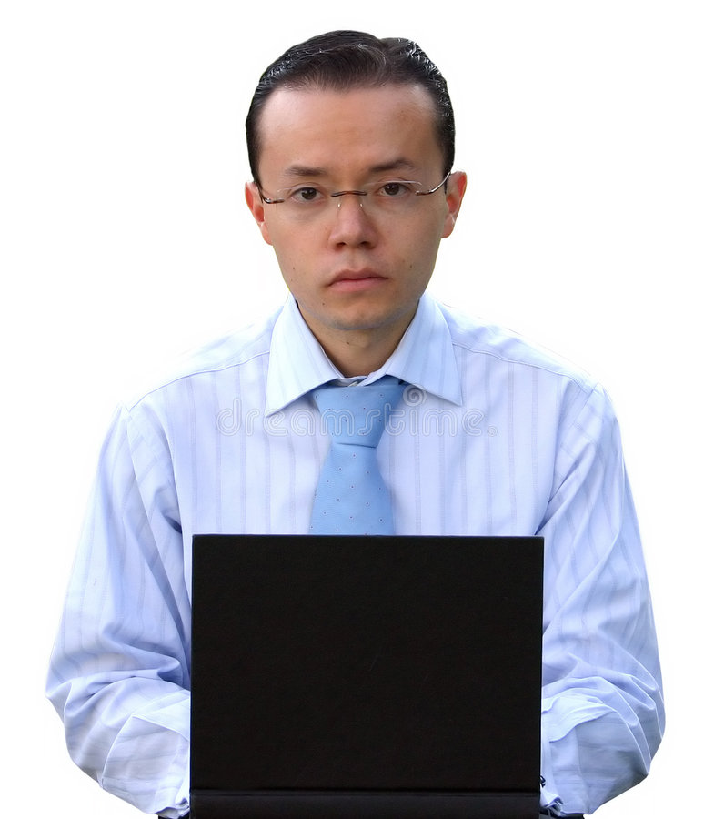 Business man working on laptop with glasses