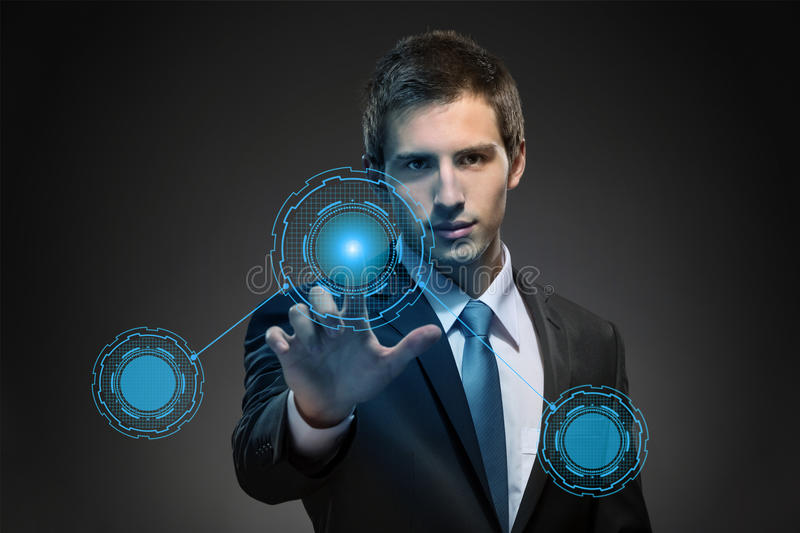 Business man working with modern virtual technology stock photo