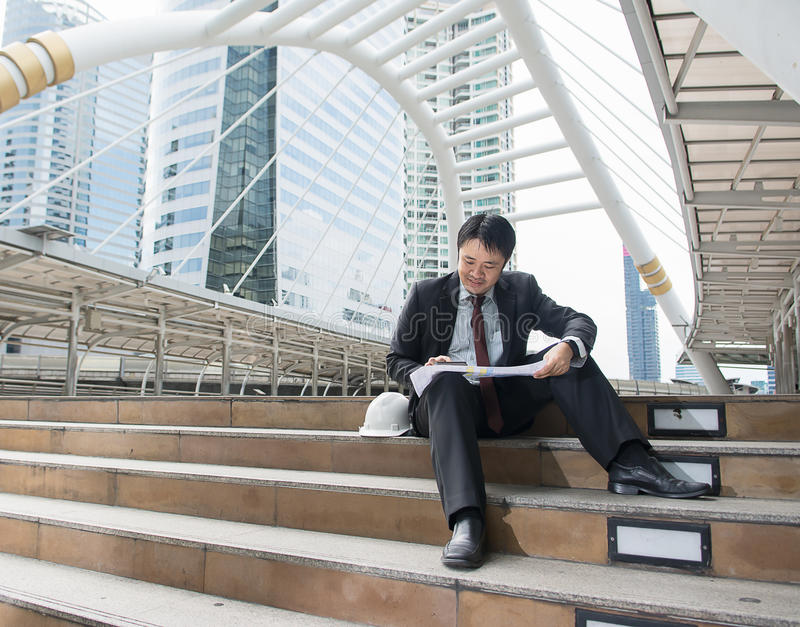 Business man is working outdoor royalty free stock images