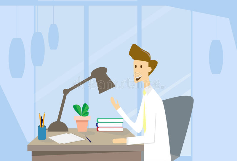 Business Man Workplace Office Desk. Flat Vector Illustration stock illustration