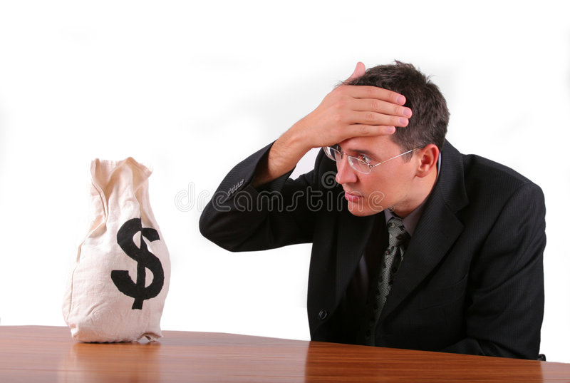 Business man worried about his money bag royalty free stock images