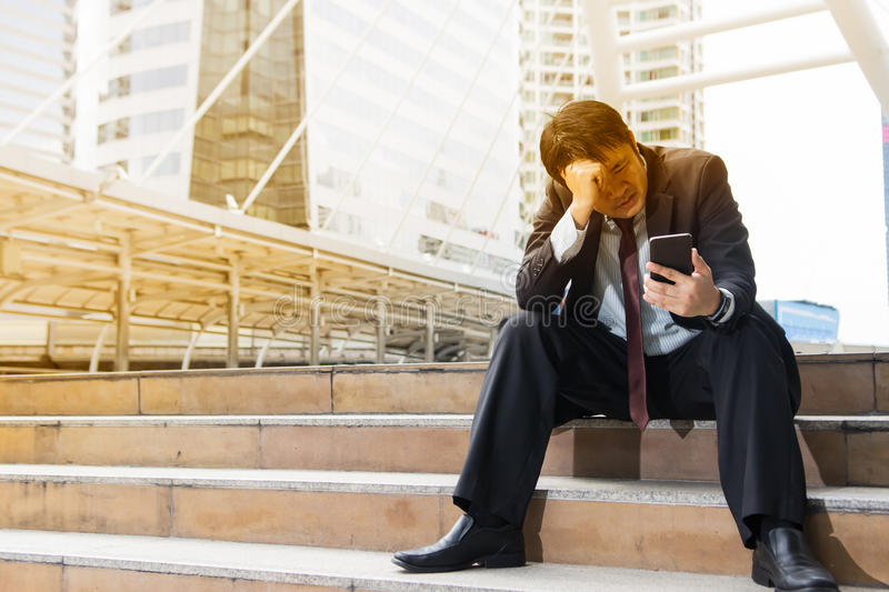 Business man with worry feeling stock photo