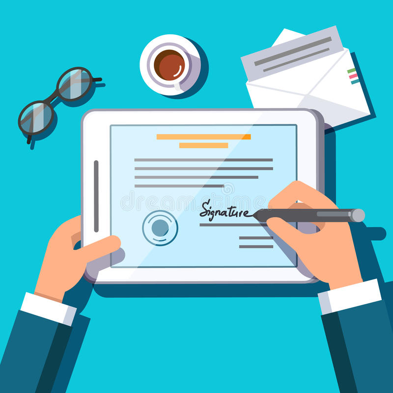 Free Business Man Writing An Electronic Signature Stock Photography - 82284882