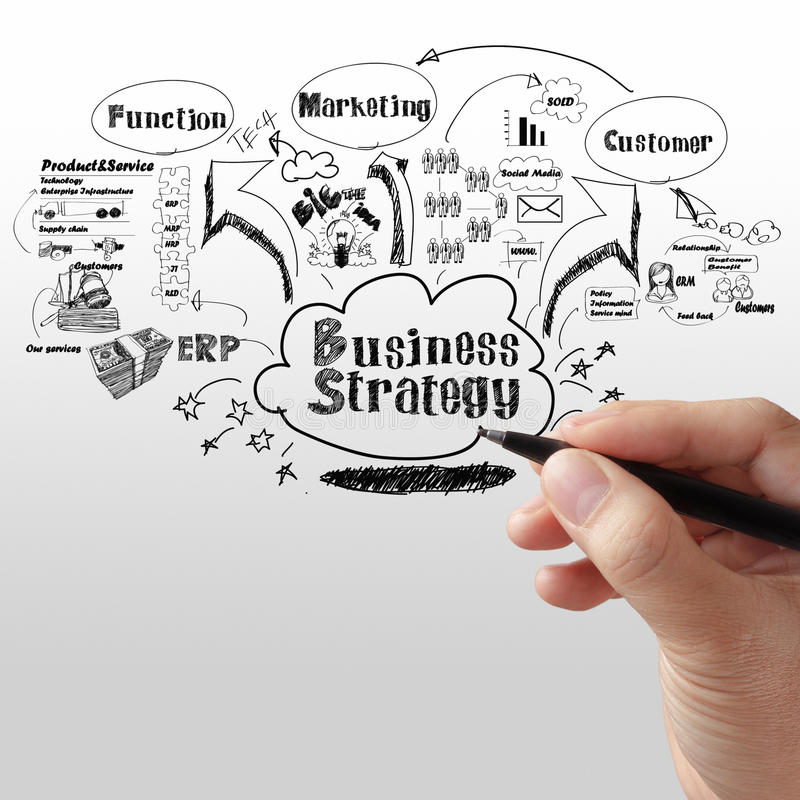 Business man writing business strategy. Concept stock images
