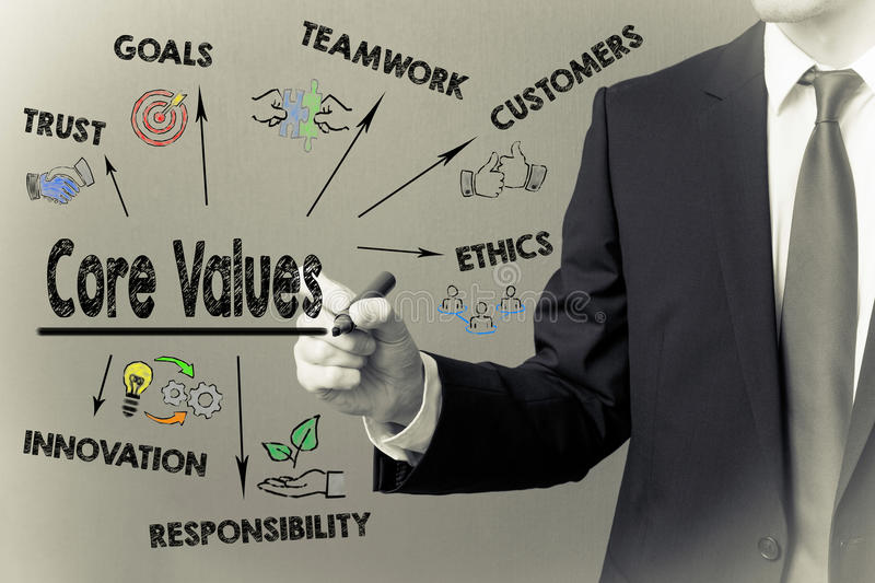 Business man writing - Core Values royalty free stock photography