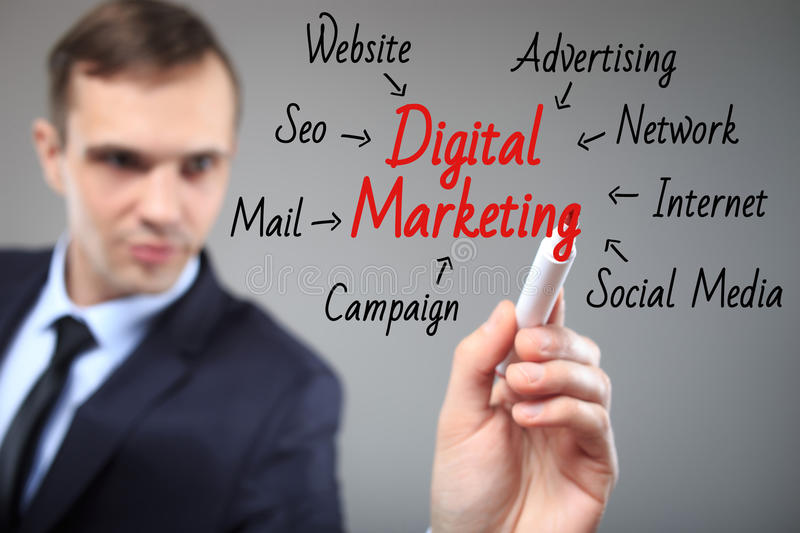 Business man writing digital marketing concept. Business, technology, internet and networking concept stock photo