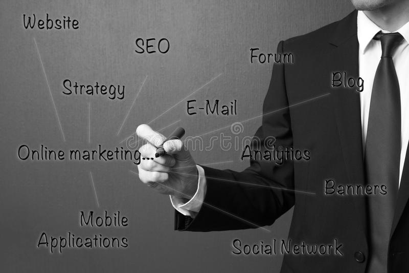 Business man writing internet marketingOnline Marketing Concept royalty free stock images