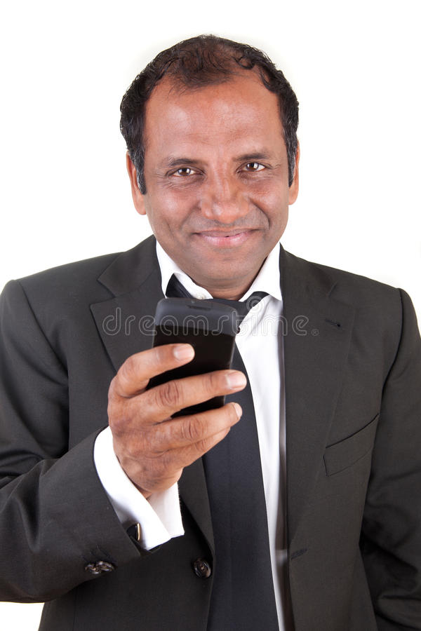 Business man writing message with his mobile phone stock photos