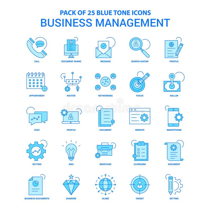 Free Business Management Blue Tone Icon Pack - 25 Icon Sets Royalty Free Stock Photo - 131371045