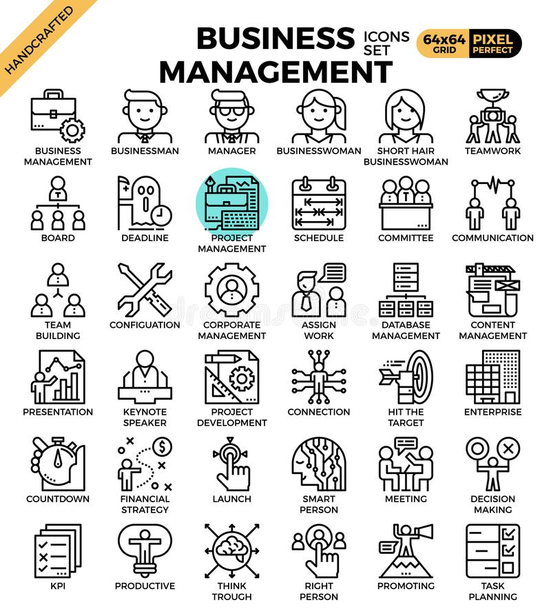 Business management icons. Business management concept detailed line icons set in modern line icon style for ui, ux, website, web, app graphic design royalty free illustration