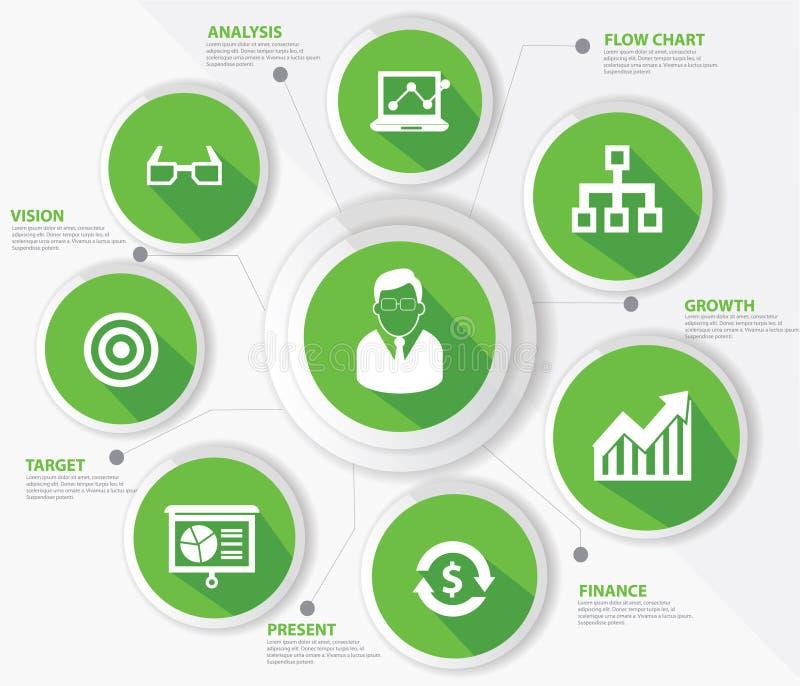 Business management concept,Green version vector illustration