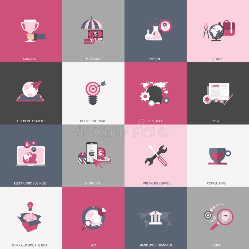 Business, management, finances, education and technology icon set. Colorful universal icon set for websites and mobile application stock illustration