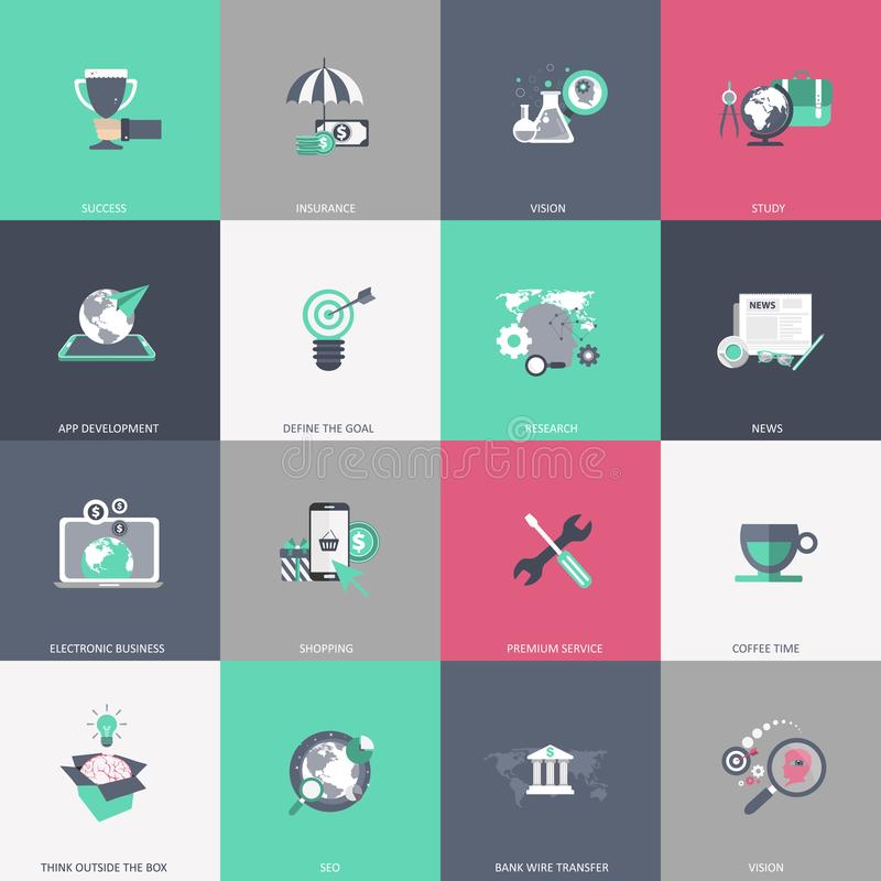 Business, management, finances, education and technology icon set. Colorful universal icon set for websites and mobile application vector illustration