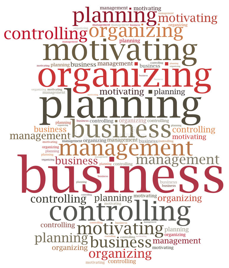 Business management functions. Word cloud illustration. Classic theoretical business management functions. Word cloud illustration vector illustration