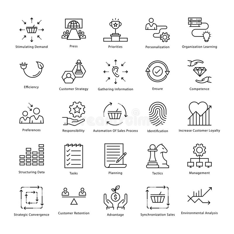 Business Management and Growth Vector Line Icons 30. This collection of business management and growth line Icons is just what you need for your next business royalty free illustration