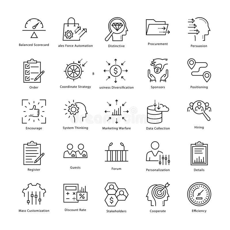 Business Management and Growth Vector Line Icons 32 royalty free illustration