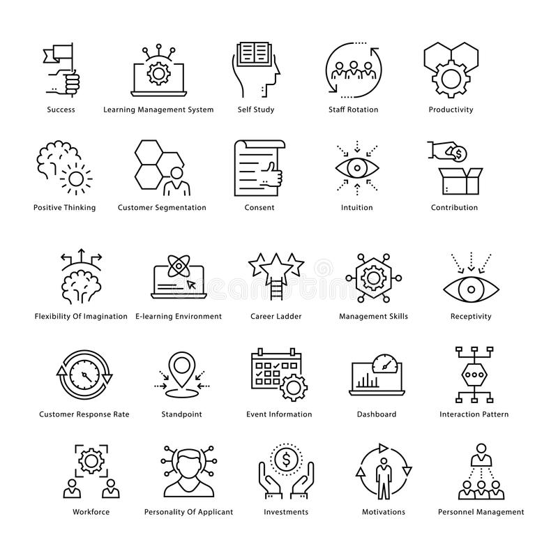 Business Management and Growth Vector Line Icons 46. This collection of business management and growth line Icons is just what you need for your next business royalty free illustration