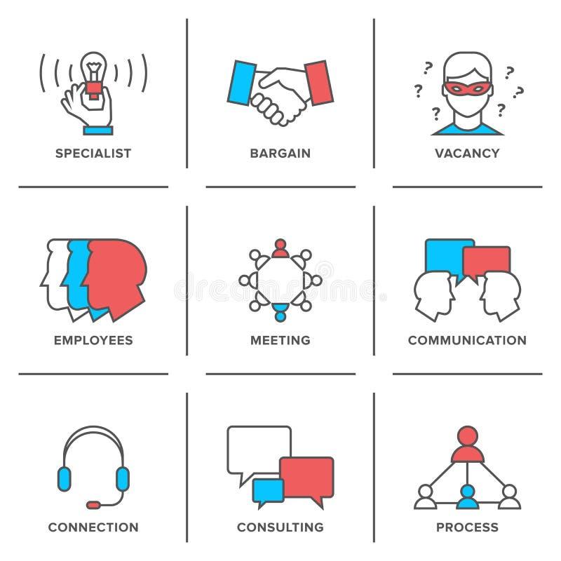 Business management line icons set royalty free illustration