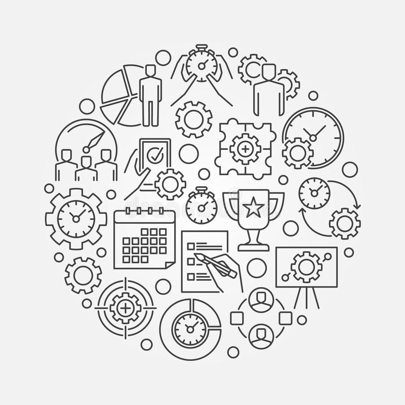 Business management round illustration royalty free illustration