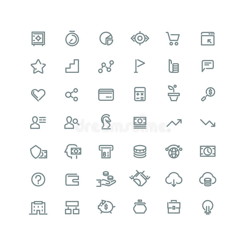 Business management, strategy, career vector line icons set stock illustration