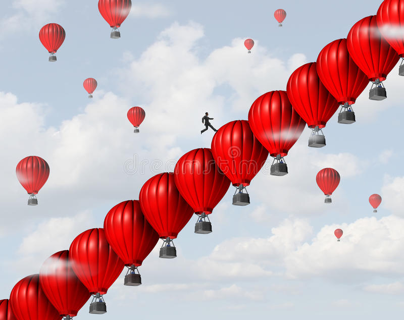 Business Management Success. Leadership concept as a group of red air balloons stacked in a staircase or stairs formation so a businessman leader can climb vector illustration