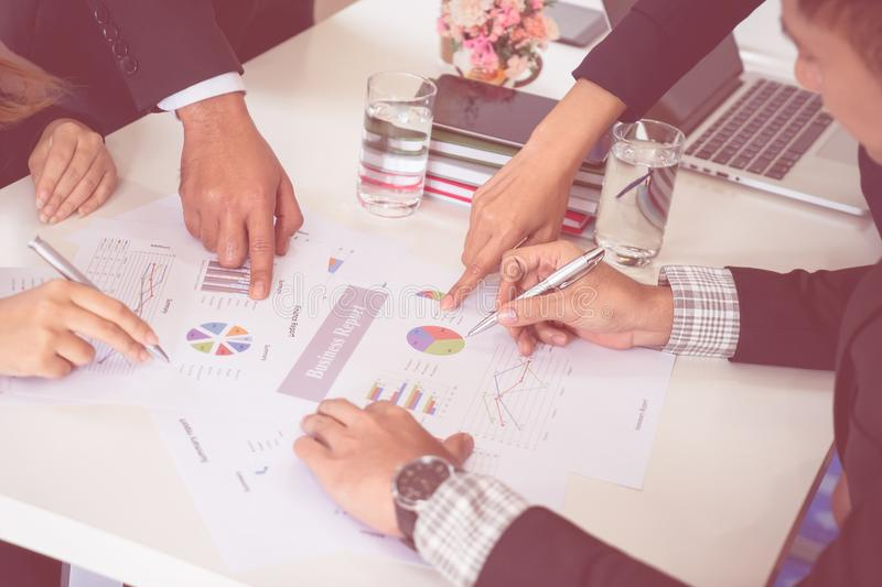 Business management team having meeting in meeting room. stock images