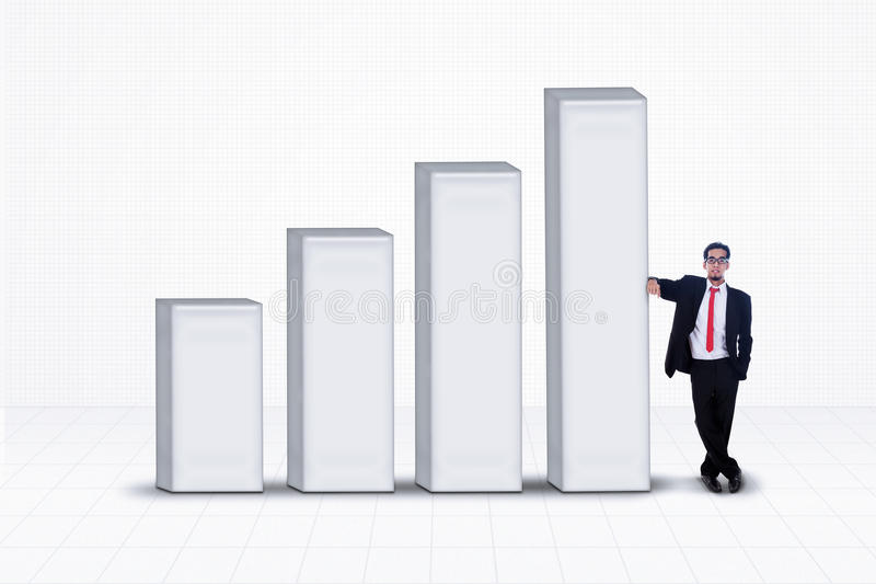 Business manager and bar chart on white stock illustration